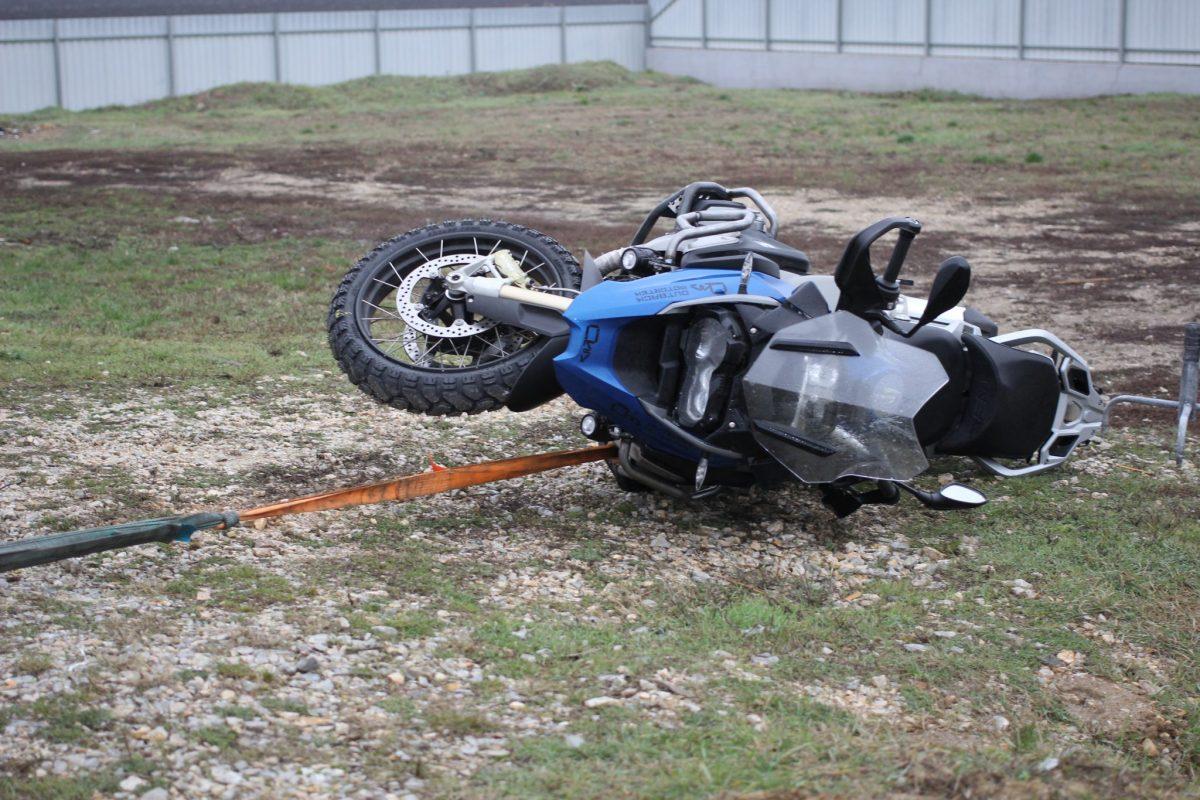 BMW R1200GS crash bars test